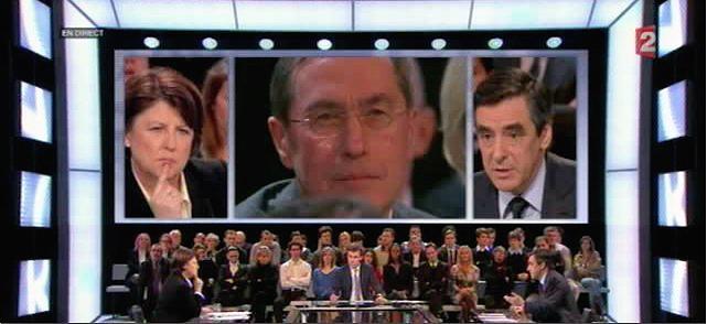 Guéant entre Fillon et Aubry à Des Paroles et Des Actes