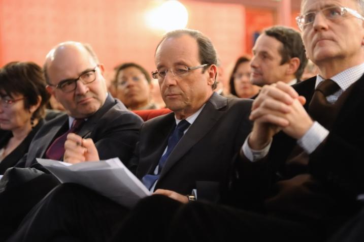 François Hollande avec Pierre Moscovici et André Vallini au Club DJS - © Razak