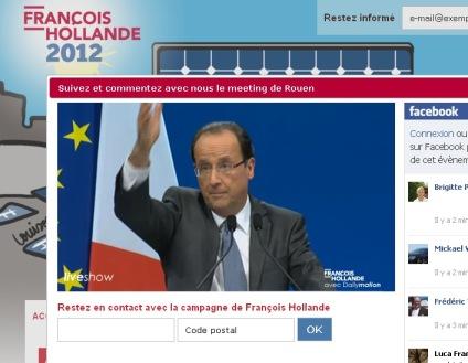 François Hollande à Rouen via Internet - Capture