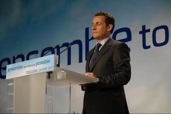 Nicolas Sarkozy en 2007 à Toulouse - cc Guillaume Paumier