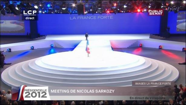 Villepinte Nicolas Sarkozy arrive sur l'estrade pour son discours, le 11 Mars 2012 - capture