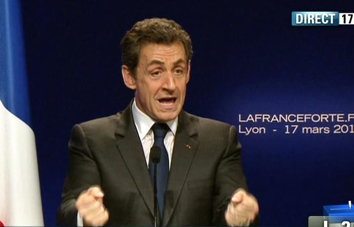 Nicolas Sarkozy à Lyon le 17 mars 2012 cherche à montrer sa force