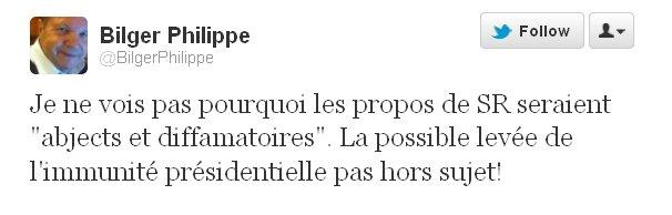 Tweet Philippe Bilger sur Sarkozy, son immunité et les propos de S. Royal