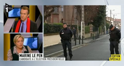 Marine LePen sur ITele commentant l'arrestation de l'assassin de Toulouse