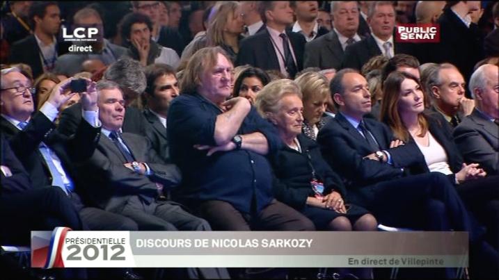 JP. Raffarin, B. Accoyer, G. Depardieu, B. Chirac, JF. Copé et C. Bruni à Villepinte