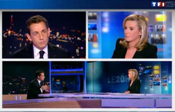 Nicolas Sarkozy et Laurence Ferrari au 20h de TF1.