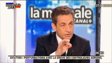 Nicolas Sarkozy lors de la Matinale de Canal+ tente de répondre sur l'Affaire Bettencourt - capture
