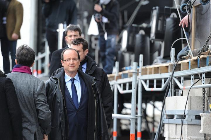 François Hollande juste avant son discours de Vincennes - © Razak