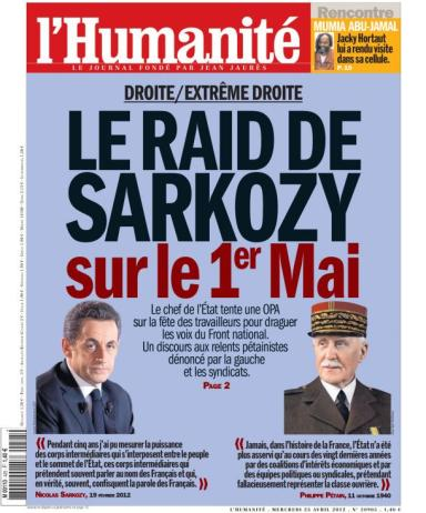 L'Humanité du 25 avril 2012 : Sarkozy copie Pétain