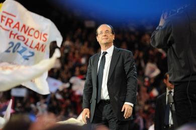 """François Hollande à Bercy juste avant le """"rappel"""" - © Razak"""