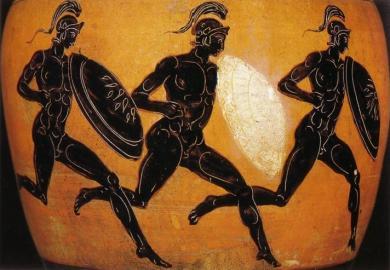 Athlètes grecs : coureurs disputant une course en armes ou hoplitodromie. (Amphore panathénaïque, IVe siècle av. J.-C.)