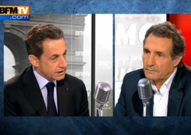 Sarkozy face à Bourdin - capture FranceSoir