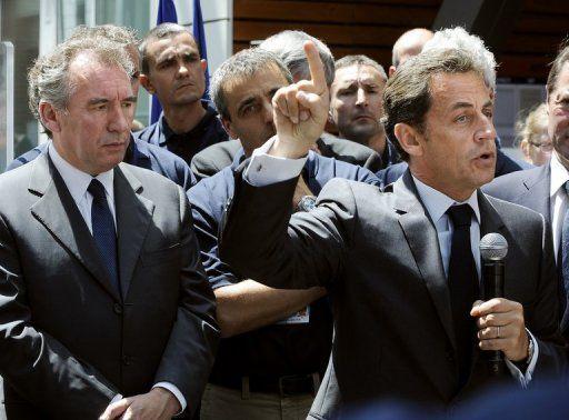 François Bayrou et Nicolas Sarkozy, le 22 juin 2012 à Bordes via La Montagne