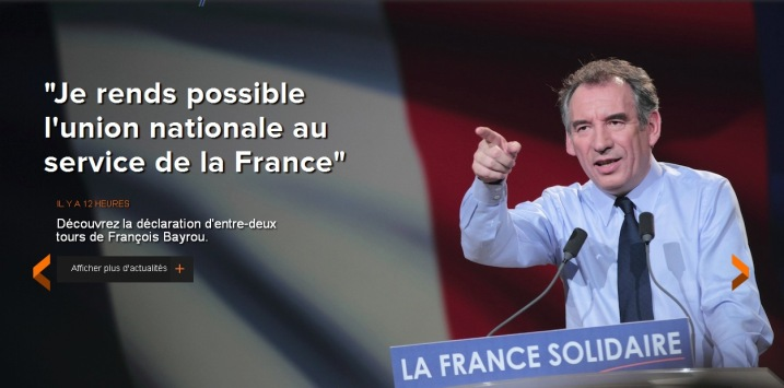 Bayrou vote Hollande contre Sarkozy - capture du site Bayrou.fr
