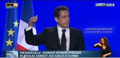 Nicolas Sarkozy aux Sables d'Olonne pour son dernier discours de campagne