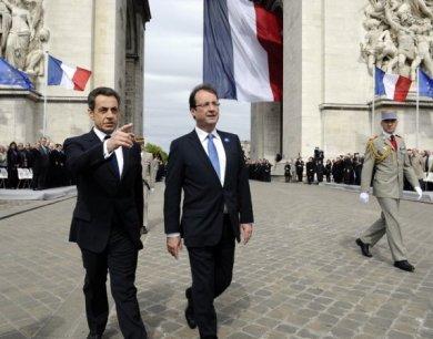 N. Sarkozy et F. Hollande aux cérémonies du 8 Mai 1945 - via LeTélégramme