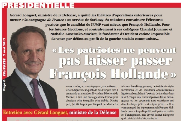 Interview de Gérard Longuet, Ministre de la Défense à Minute, journal d'extrême-droite