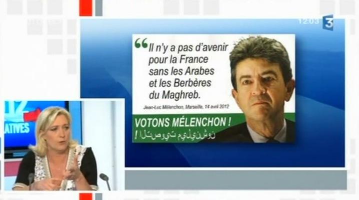 Marine Le Pen défend son faux tract sur France 3 face à Jean-Luc Mélenchon